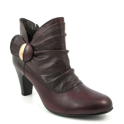 Caprice / Ankle-Boots Dunkelbraun mit Raffungen