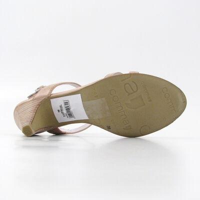 comma / Riemchen-Sandalette Beige-Ice m. Ring-Dekors, Leder