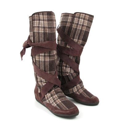 Killah Flat Boots »Delina« Braun-Kariert mit Bändern - Stiefel