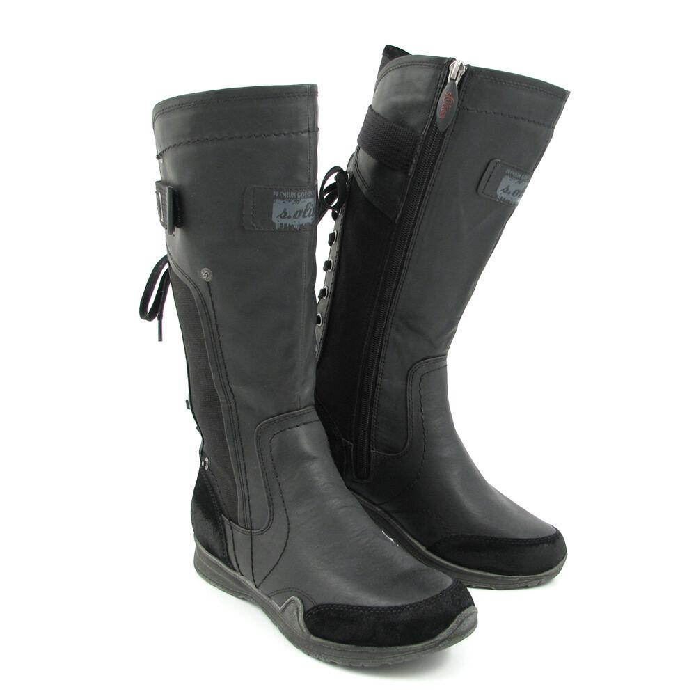 buy popular 300fc 0328d s.Oliver Stiefel Schwarz - Flache Stiefel Black | 50% OFF im ...