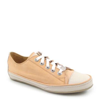 VALMY MODA Sneaker Orange-Creme - Leder-Schnürer italienisch