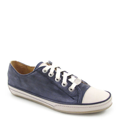 VALMY MODA Sneaker Blau/Weiss - Ledersneaker Schuhe Damen