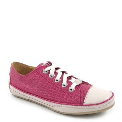 VALMY MODA Kroko-Sneaker Pink-Viola - Krokodilleder-Print Schnürschuhe
