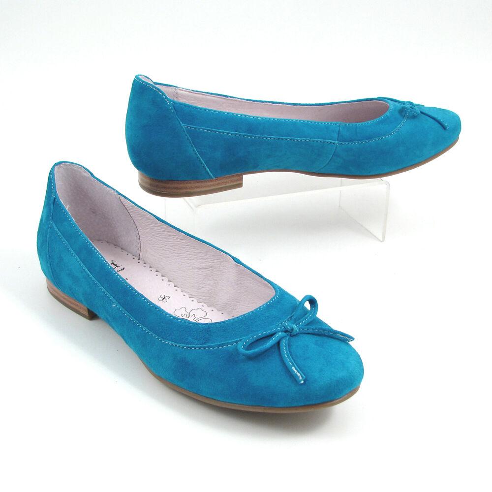 low priced 51b4a ced26 Caprice Ballerina Blau-Azur Wildleder - Slipper Light Blue ...