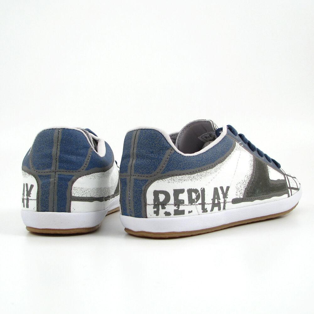 Replay Herrenschuhe LUX PRINTED Schuhe WeissBlau bedruckt