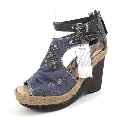 REPLAY GLAMI Black Navy  -Sandaletten Wedges Schwar Blau