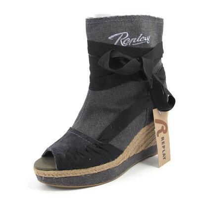 REPLAY WENDA  BLACK -Sandaletten Wedges Schwarz