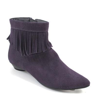 Marco Tozzi Fransen-Stiefelette Lila - Ankle Boots spitz u. flach Purple