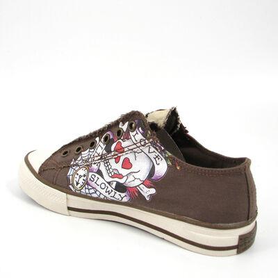 Ed Hardy / Sneaker »Love Kills Slowly« Totenkopf, Sneaker Braun