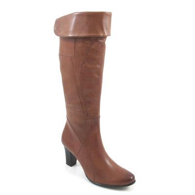 Caprice Stiefel Braun-Nuss - Lederstiefel mit Umschlagschaft Nut - günstig