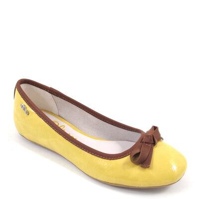 s.Oliver Ballerinas Gelb/Braun mit Schleife - Lack Yellow