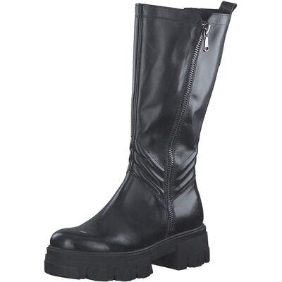 Marco Tozzi / Chunky Boots Schwarz, Leder Stiefel Black