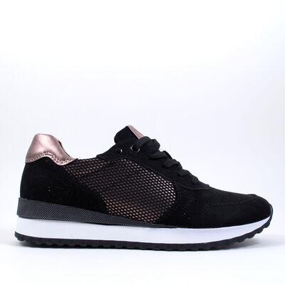 Marco Tozzi / Sneaker Schwarz/Bronze - Damen Schnürschuhe Black/Copper