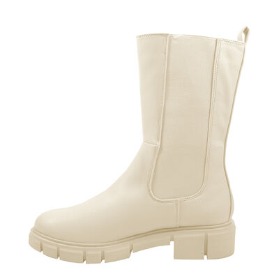 Marco Tozzi / Chunky Boots Beige, Chelsea Boots Cream, Plateaustiefelette